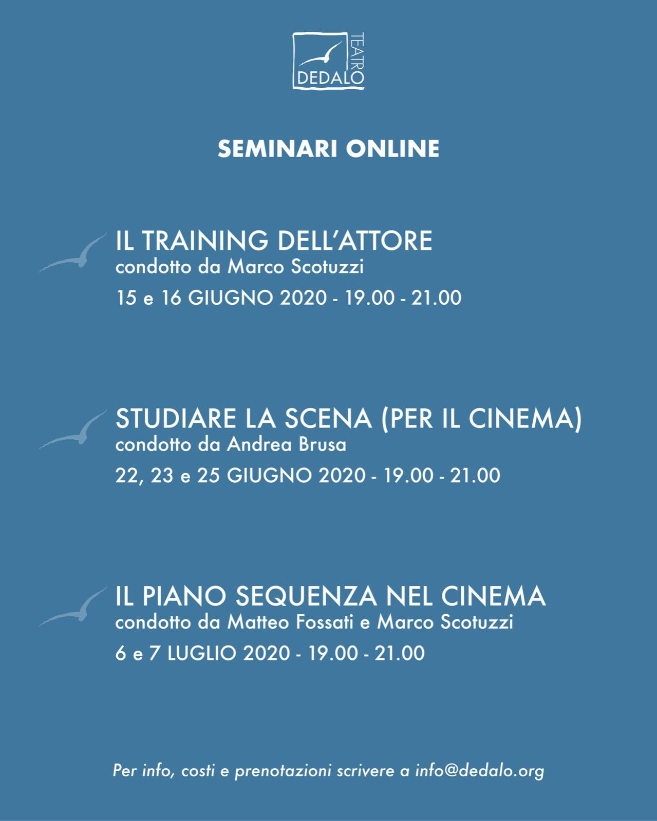 Seminari online di Teatro e Cinema